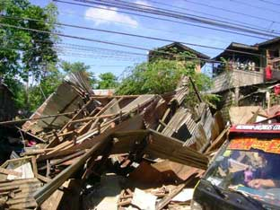 Houses in Macasandig, Cagayan de Oro City totally damaged by the flash flood.